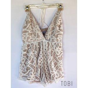 Tobi Cream Lace Romper M